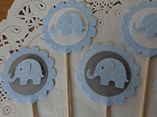Elephant Cupcake Toppers – Light Blue Polka Dot Elephants – Light Blue Grey and White – Food Picks – Party Picks – Baby Boy Shower – Appetizer Picks -…