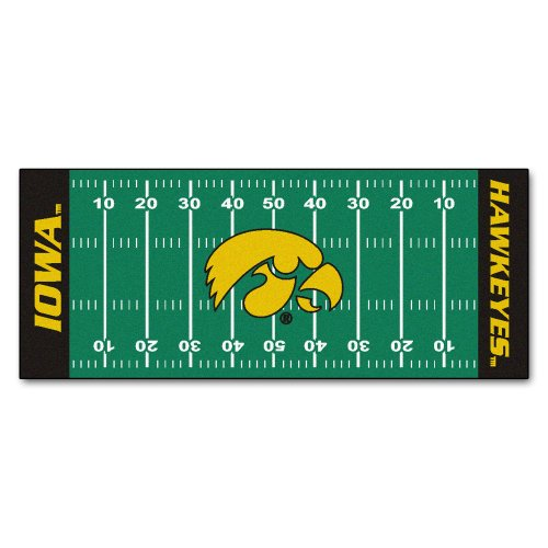 FANMATS NCAA University of Iowa Hawkeyes Nylon Face Football Field Runner (Carpet Runners By The Foot Sale)