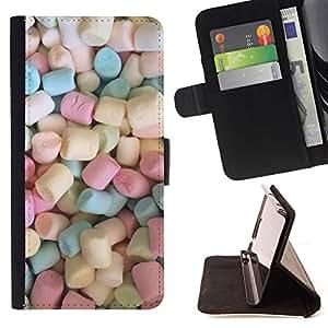 BullDog Case - FOR/HTC DESIRE 816 / - / marshmallow sweets candy pastel color /- Monedero de cuero de la PU Llevar cubierta de la caja con el ID Credit Card Slots Flip funda de cuer