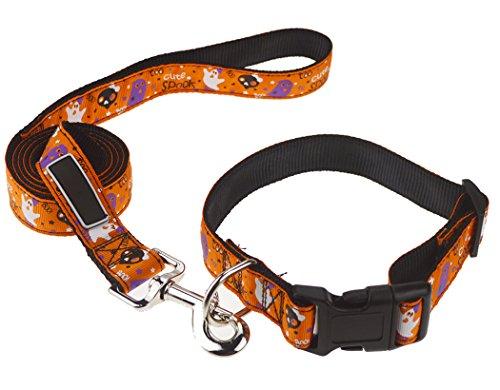 Legendog Halloween Dog Collar, 2Pcs Halloween Pet Supplies Set Cute Ghost Printed Dog Leash with Adjustable Dog Collar]()