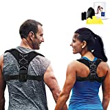 Elimoons Posture Corrector for Men & Women, Adjustable Posture Support Back Brace, Relieves Upper Back & Shoulders Pain, Posture Trainer for Slouching and Hunching, Free Exercise Band