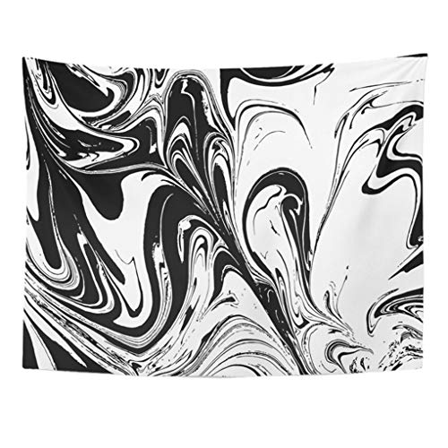 Emvency Tapestry Mandala 50x60 Inches Abstract Ink Marbling Black and White Marble Ebru Aqua and Silk Traditional Turkish Decor Wall Hanging for Living Room Bedroom - Tapestry Black Silk