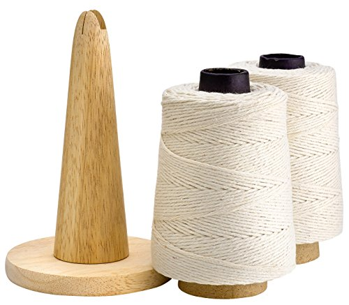 - 500 Feet Cooking Twine with Non-Slip Portable Wood Holder and Cutting Blade - 100% Cotton Materials - Ideal for DIY Crafts and Food Packaging - Professional Chef Grade Butchers Meat Strings