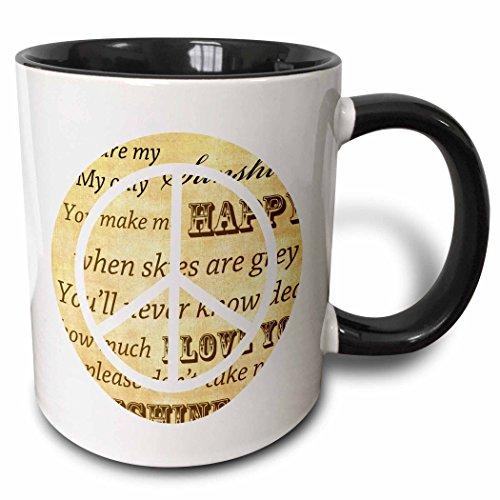(3dRose PS Vintage - You are my sunshine peace sign inspirational art - 15oz Two-Tone Black Mug (mug_110430_9))