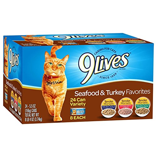 9 Lives Turkey & Seafood Favorites Wet Cat Food Variety (24 Pack), 5.5 Oz