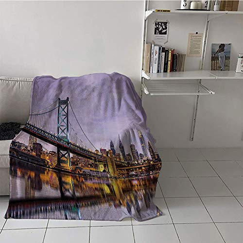 Khaki home Children's Blanket Convenience All Season Blanket (60 by 70 Inch,Apartment Decor Collection,Ben Franklin Bridge and Philadelphia Skyline Under Sunsets Reflections on Water Image,Gray Ivory