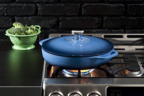Lodge 3.6 Quart Enamel Cast Iron Casserole Dish with Lid (Carribbean Blue) by Lodge (Image #1)