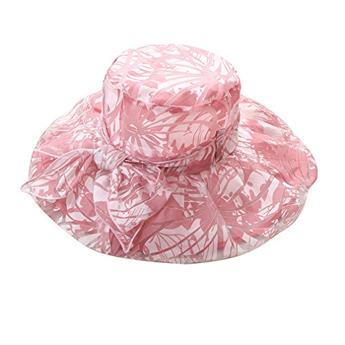 stampato donna spiaggia da Acvip a rosa con viaggio cappello da fiore Sun Cappello fiocco da larga Hat falda xAHqwBw6