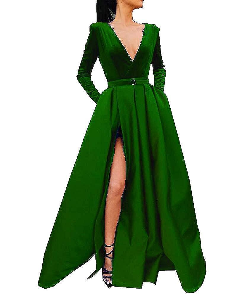 Dark Green MariRobe Women's High Split Evening Dress Deep V Neck Prom Gown Long Sleeve Party Gown