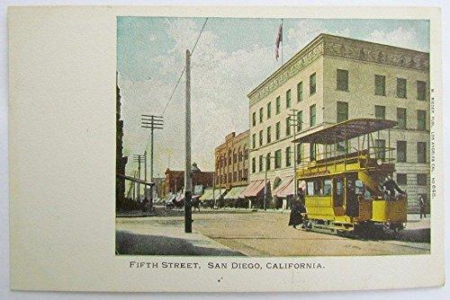 ANTIQUE UNUSED POSTCARD FIFTH STREET SAN DIEGO CA double decker trolley railroad