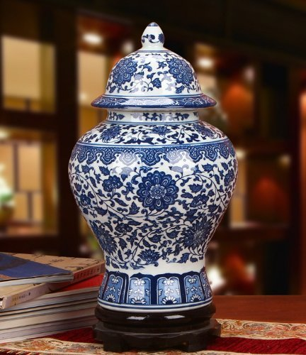 "Classic Asian Blue and White Ceramic Urn - 15"" Fine Chinese Porcelain Temple / Spice Jar, Hand Made Hand Painted"