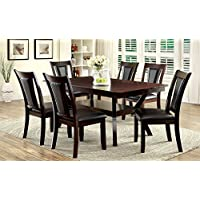Furniture of America Dalcroze 7-Piece Modern Dining Set, Dark Cherry