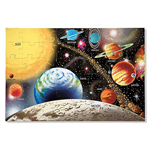 "Melissa & Doug Solar System Floor Puzzle (Floor Puzzles, Easy-Clean Surface, Promotes Hand-Eye Coordination, 48 Pieces, 36"" L x 24"" -"
