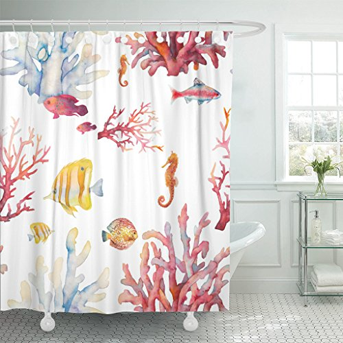Emvency Shower Curtain Watercolor Coral Reef Realistic Tropical Fishes Sea Horse Waterproof Polyester Fabric 60 x 72 Inches Set with -