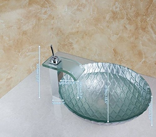 GOWE Round Painting Bathroom Art Washbasin Tempered Glass Vessel Sink With Square Waterfall Glass Brass Faucet Set 0