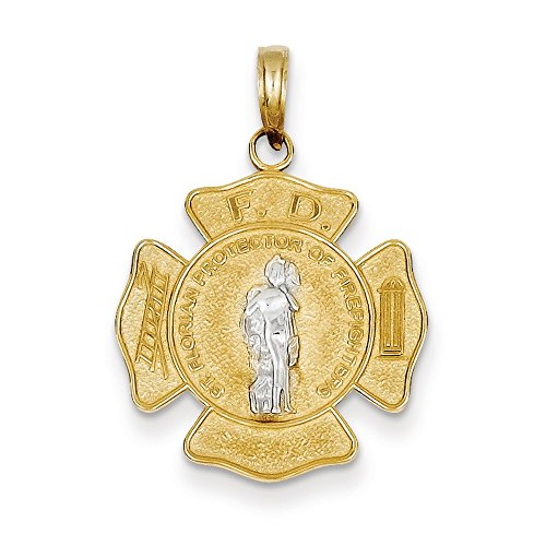 Jewelry Stores Network 14k Yellow Gold Saint Florian Protector Of Firefighters Badge Pendant (14k Firefighter Pendant)