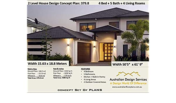 Amazon.com: 2 level Home Design Concept Plans- 4 Bedroom 5 ... on shipping container home floor plans, contemporary home designs floor plans, modern ranch homes design, shotgun house floor plans, modern ranch style homes, popular ranch style house plans, modern ranch design with pool, modern loft homes floor plans, modern rustic homes floor plans, open ranch floor plans, contemporary ranch floor plans, modern ranch homes kitchens, modern california ranch style house, modern bungalow house plans, modern contemporary house plans, dog trot house floor plans, modern house plans and designs,