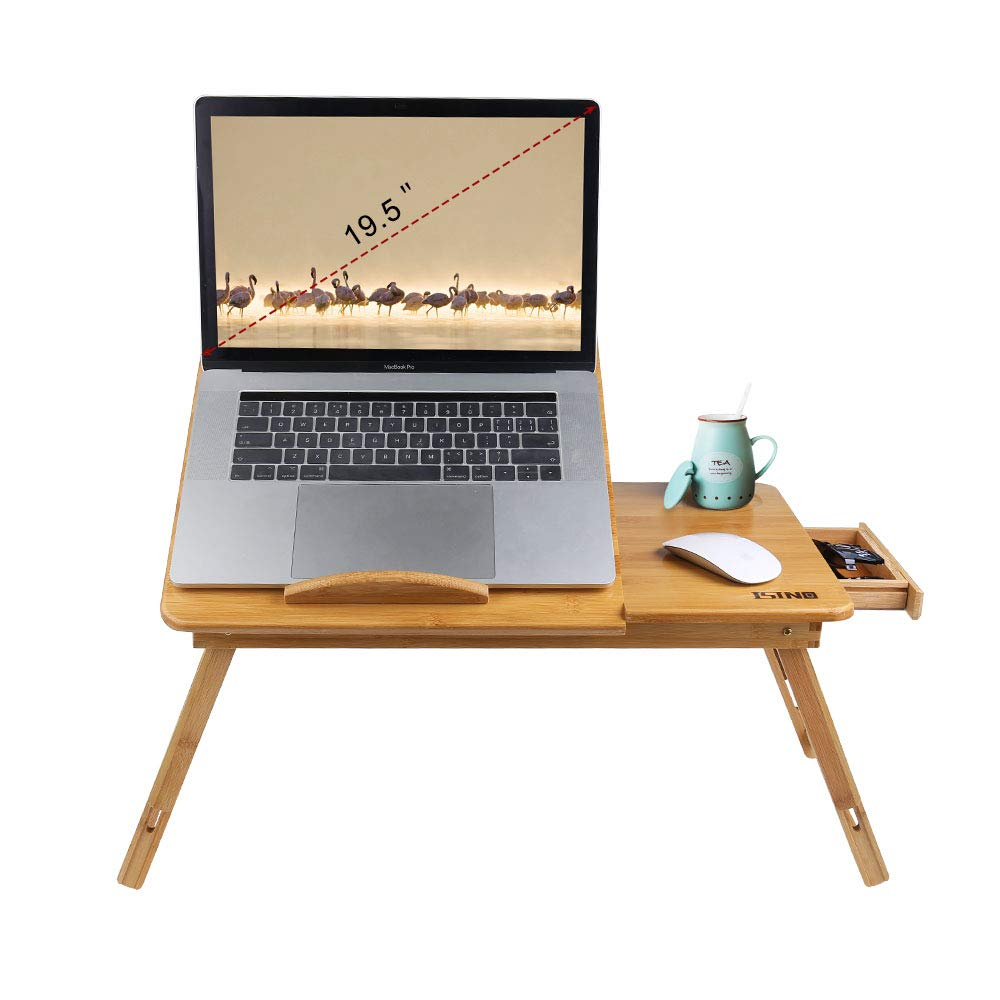 Bamboo Wood Laptop Desk Tray Foldable Breakfast Tray Table Adjustable Computer Bed Tray for Eating Laptops Writing Reading on Bed Sofa Coach with Drawer Tilting Desktop Leg (Upgraded,Thicken) by ISINO