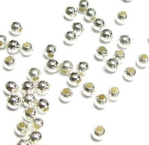 100 pcs .925 Italian Sterling Silver Seamless Round Spacer Beads 3mm / Findings/Bright