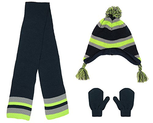 Capelli New York Boys Solid Stripes Knit Earflap Hat, Scarf, and Mittens Set Navy Combo 2-4T
