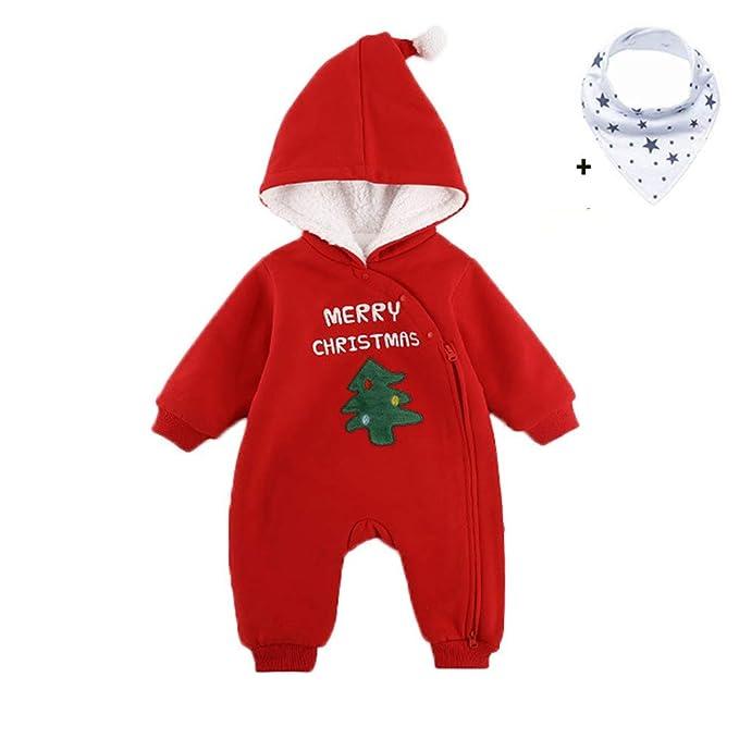 Morbuy Navidad Lindo Bebé Ropa de Invierno Mameluco, Nacido Niños Niñas Cálido Traje de Nieve