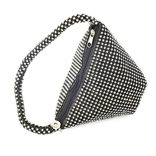 Women's Bag Silver Prom Wedding Black Party Evening Full Purse Rhinestones TOPCHANCES Bag Upgrade Triangle Clutch twOqFWgR