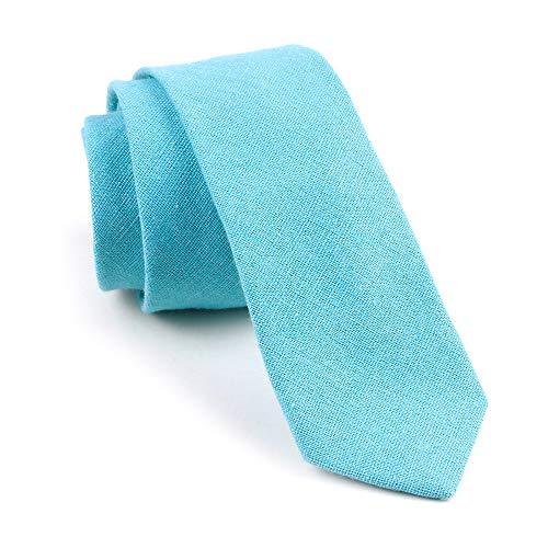 Blue Italian Tie - Men's Skinny Pool Blue Tie Cyan Summer Stylish Wedding Italian Linen Necktie Gifts
