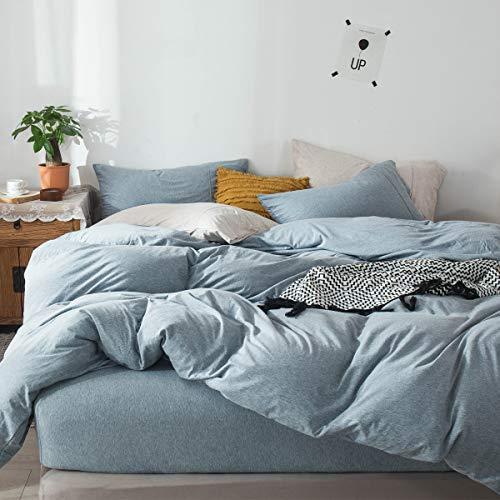Fossa Jersey Knit 3 Pieces Duvet Cover Set Blueish Grey Queen T-Shirt Heathered Cotton Super Soft Comfortable