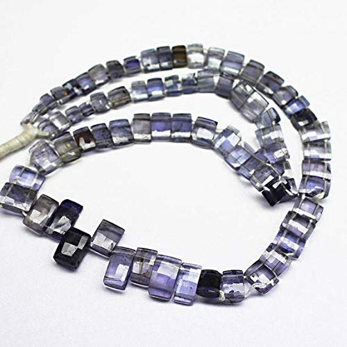 GemAbyss Beads Gemstone Water Sapphire Blue Iolite Faceted Rectangle Chiclet Gemstone Loose Craft Beads Strand 14 Inch Long 5mm 10mm Code-MVG-26453