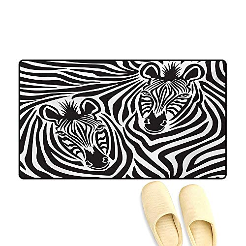- Doormat,Couple of Zebras Eyes Face Heads Image Pattern Artistic Wild Animals Design,Bath Mats Carpet,Charcoal Grey White,24