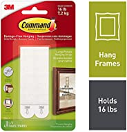 Command Large Picture Hanging Strips for Picture Frames, 4 Pairs, White - 17206C