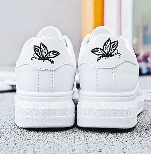 Mujeres Lace Mujer XINGMU Casual Otoño Las De Blue Sneakers Mujer Zapatos Primavera Transpirable Mujer Blanco Calzado Moda Up Bordar gBB5xpH