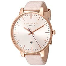 Ted Baker Women's 'Classic' Quartz Stainless Steel and Leather Dress Watch, Color:Pink (Model: 10030737)