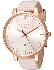 Ted Baker Womens Classic Quartz Stainless Steel and Leather Dress Watch, Color:Pink (Model: 10030737)
