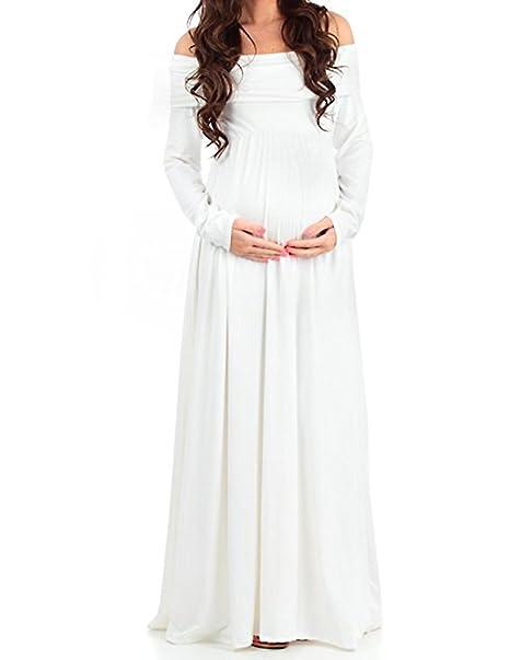b1cc042edc93 BienBien Abiti Eleganti Donne Incinte Vestito Lungo Cerimonia Premaman  Abbigliamento Abito Spalle Scoperte Maniche Lunghe Vestiti