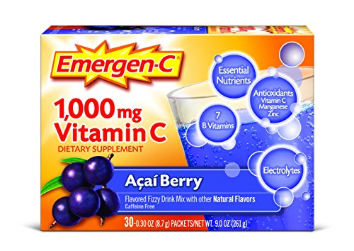 Emergen-C (30 Count, Acai-Berry Flavor) Dietary Supplement Drink Mix with 1000 mg Vitamin C, 0.30 Ounce Packets, Caffeine Free (Optimum Antioxidant)