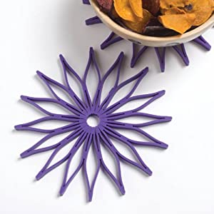 Blossom Multi-Purpose Flower Shaped Silicone Trivet, Hot Pad and Coaster; 8.75-Inches; Black; Microwave Safe