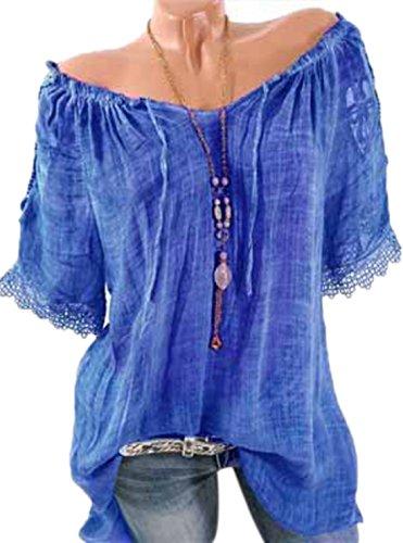 Tunique t Col Manches Femme Lache Chemisiers Blouses Fashion T Bleu Bateau pissure Mi Shirts Longue Courtes Dentelle Casual Haut Bandage Tops BnxZO0B