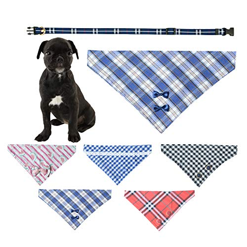 Ihoming Pet Bandana Classic Scarf Neckerchief with Durable and Soft PU Collar for Dogs Cats and Small Animals, Plaid, Blue, Extra Large