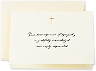 product image for Crane & Co. Hand Engraved Gold Cross Sympathy Acknowledgement Note (CF1445), Pack of 10