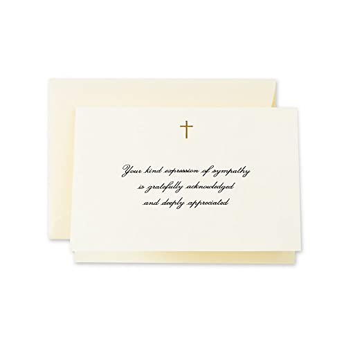 hand engraved gold cross sympathy acknowledgement note cf1445 pack