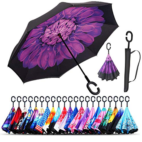 Monstleo Double Layer Inverted Umbrella Cars Reverse Umbrella, Windproof UV Protection Big Straight Umbrella for Car Rain Outdoor with C-Shaped Handle and Carrying Bag