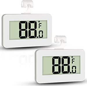 AOVIOAN Mini Refrigerator Fridge Thermometer, 2 Pack Digital Freezer Thermometer Waterproof Room Thermometer with Hook, Large LCD Display