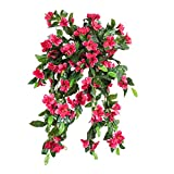 Azalea Artificial Silk Flowers Hanging Plant Vine for DIY Garland Home Party Wedding Garden Decor Pack of 2 (Red)