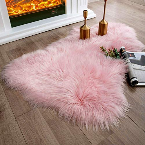 Ashler Soft Faux Sheepskin Fur Rug Fluffy Rugs Chair Couch Cover Pink Area Rug for Bedroom Floor Sofa Living Room 2 x 3 Feet
