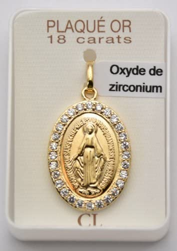 Medaglia miracolosa con zirconia cubica placcato oro 18 carati biglietto di preghiera di Lourdes