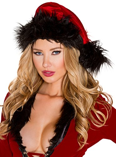 Red and Black Santa Hat Velvet Christmas Hat (Black Santa Hat)