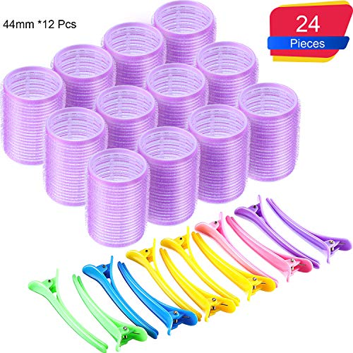 Roller Set Curls - 44 mm Self Grip Hair Rollers Set 12 Count large Self Holding Rollers and 12 Multicolor Plastic Duck Teeth Bows hair Clips Hairdressing Curlers for Women, Men and Kids (44 mm, 24 Pieces)
