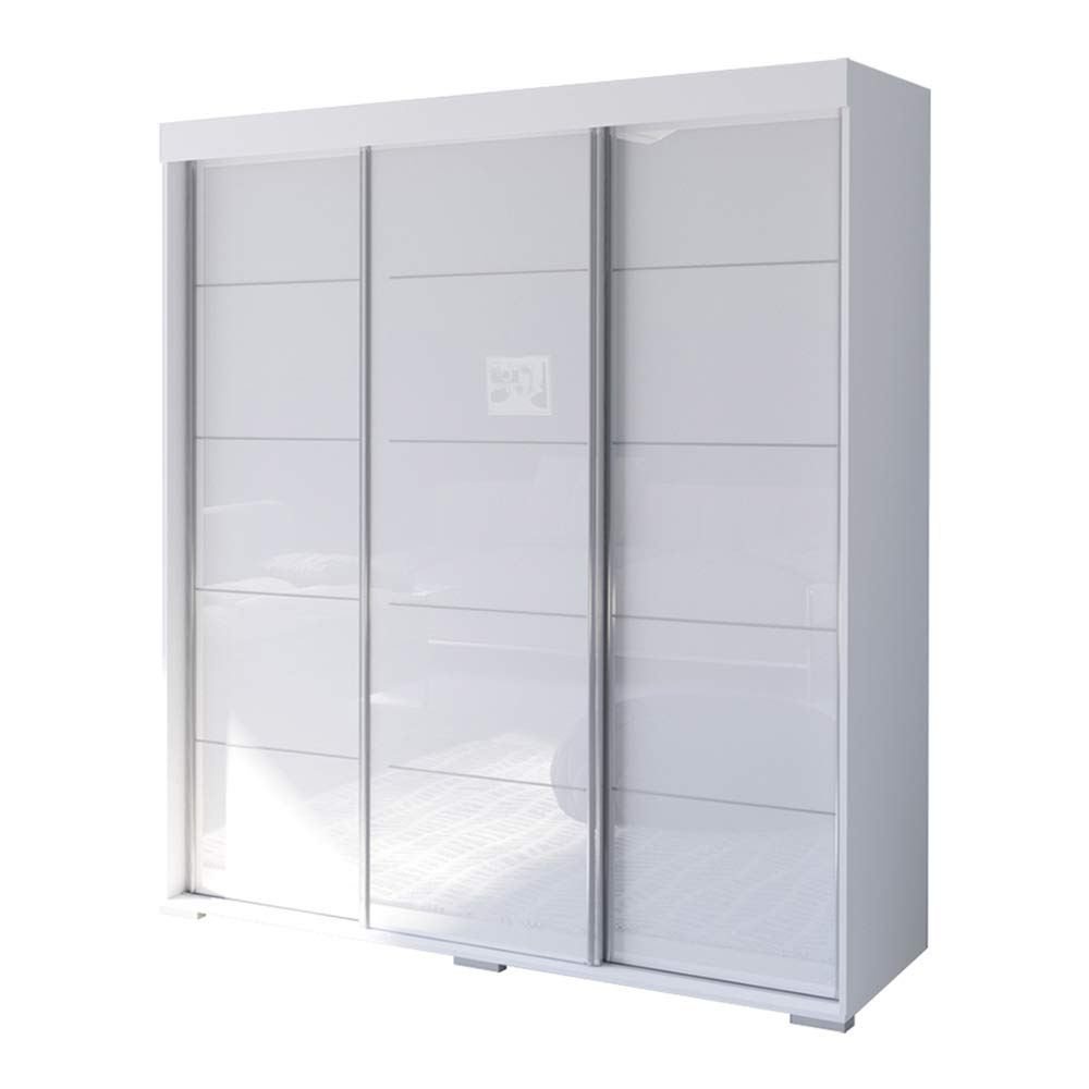Aria 3 Door 71'' Wide Modern High Gloss Wardrobe Armoire, White by MEBLE FURNITURE & RUGS