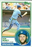 Autograph Warehouse 47985 Don Money Autographed Baseball Card Milwaukee Brewers 1983 Topps No .608 Ball Point Pen